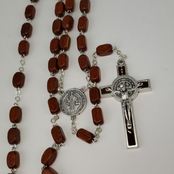 Rosary Brown Square Wood Beads (NEW ITEM)